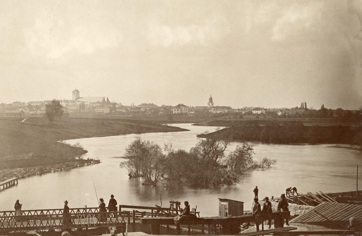 Vy mot Linköping från Tannefors sluss 1875.