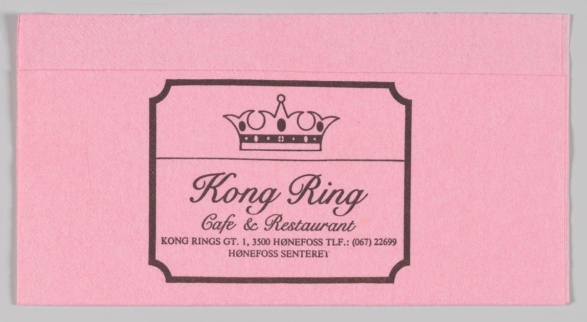 En kongekrone og reklametekst for Kong Ring Cafe og Restaurant på Hønefoss.