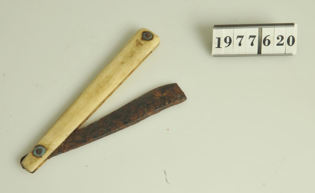 Hopfällbar rakkniv med skaft av elfenben.