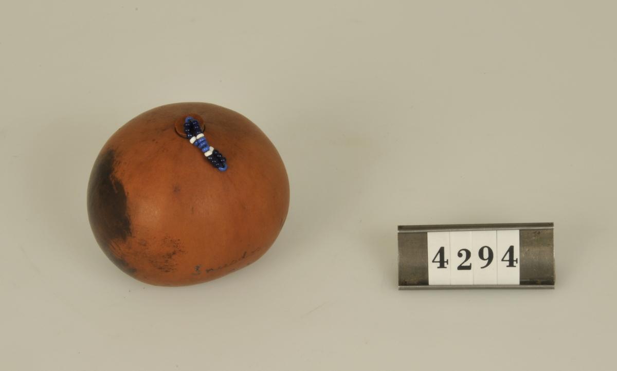 """Av en kalebassliknande frukt. Rund med ett litet lock fästat vid dosan med ett band av blå pärlor.  Påskrift på dosan: """"Från Zululand."""""""