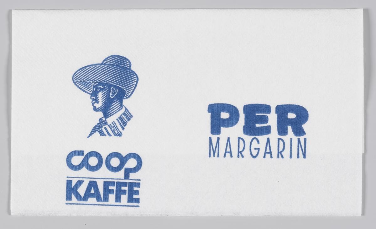 En mann med en bredbremmet hatt og reklame for Obs!, Coop kaffe og Per margarin.  Samme reklame på MIA.00007-004-0217 til MIA.00007-004-0221.  Reklame for samme produkter på MIA.00007-004-0218; MIA.00007-004-0219.