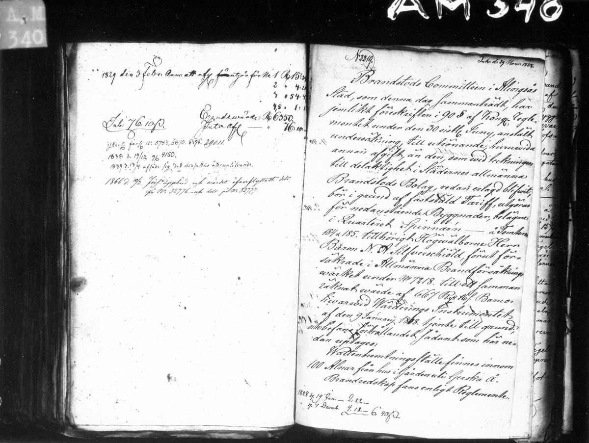 Förteckning över byggnader och övrigt i kvarteret Spinnaren år 1828. Brandstodkommitténs i Alingsås