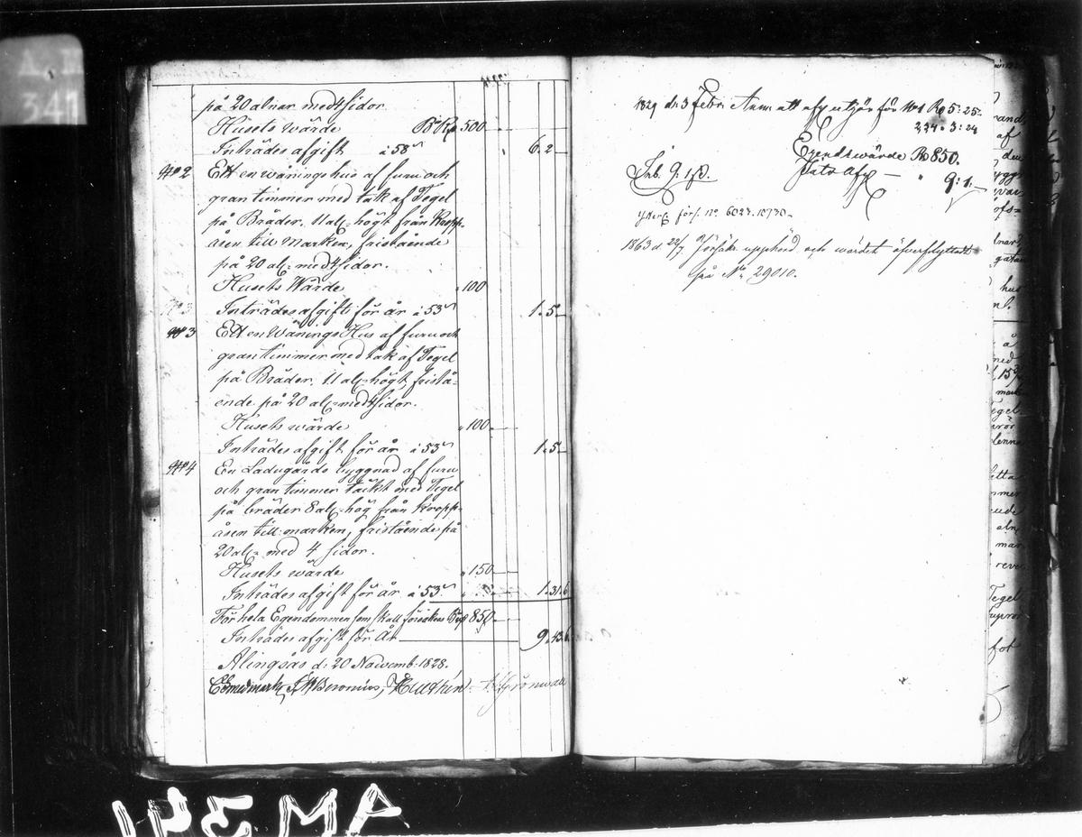 Förteckning över byggnader och övrigt i kvarteret Spinnaren, år 1828. Brandstodskommitténs i Alingsås.