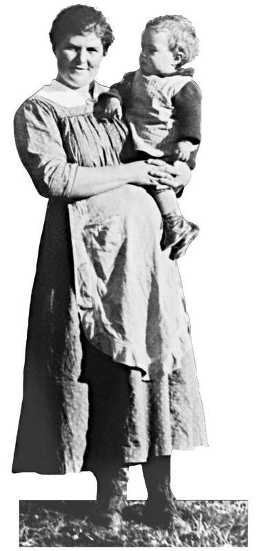 Et av menneskene du møter i utstillingen Mennesker og levekår. Skedsmo var blant de første kommunene som opprettet helsestasjoner for mødre og spebarn.