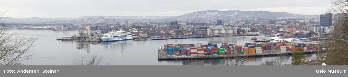 Panorama, sjø, havn, fjord, båt, skip, festning, byggearbeider, kran, mudder,