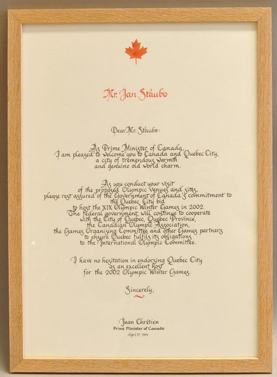 Innrammet brev fra Jean Chrétien, statsminister i Canada, til Jan Staubo.