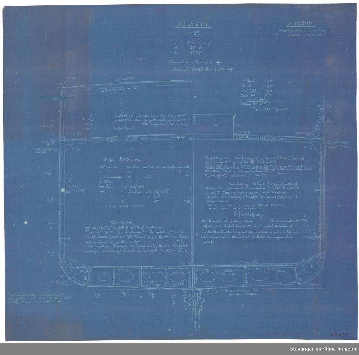 Generalarrangement av S/S Munin på papir