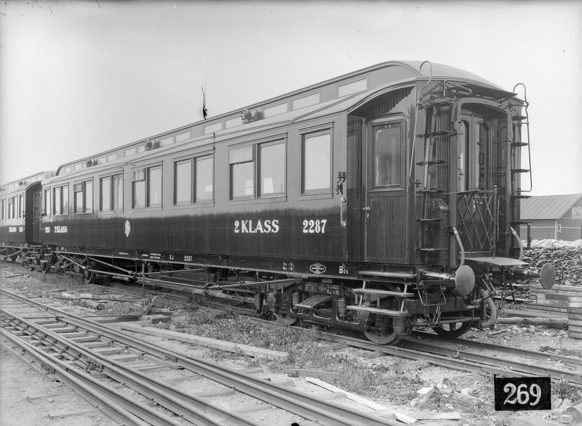 Statens Järnvägar, SJ Bo5 2287. Vagn byggd i Linköping 1915.