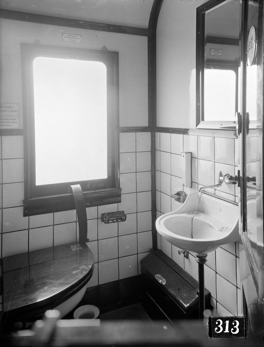 Dalslands Järnväg, DJ BCo 10. Vagn byggd i Linköping 1915. Tvättställ.