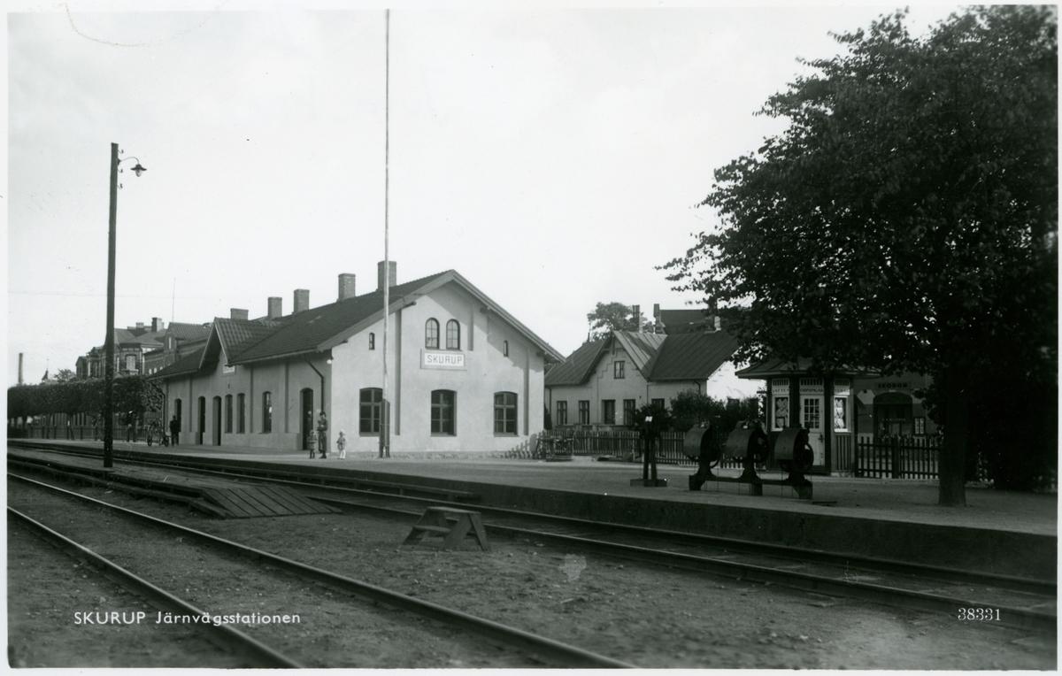 Skurup station. Kopia av Pressbyråns vykort nr 38331.