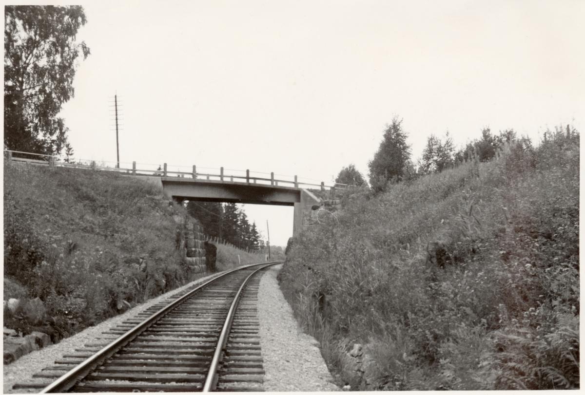 Vägbro över järnvägsspåret. Trafik började 1876.