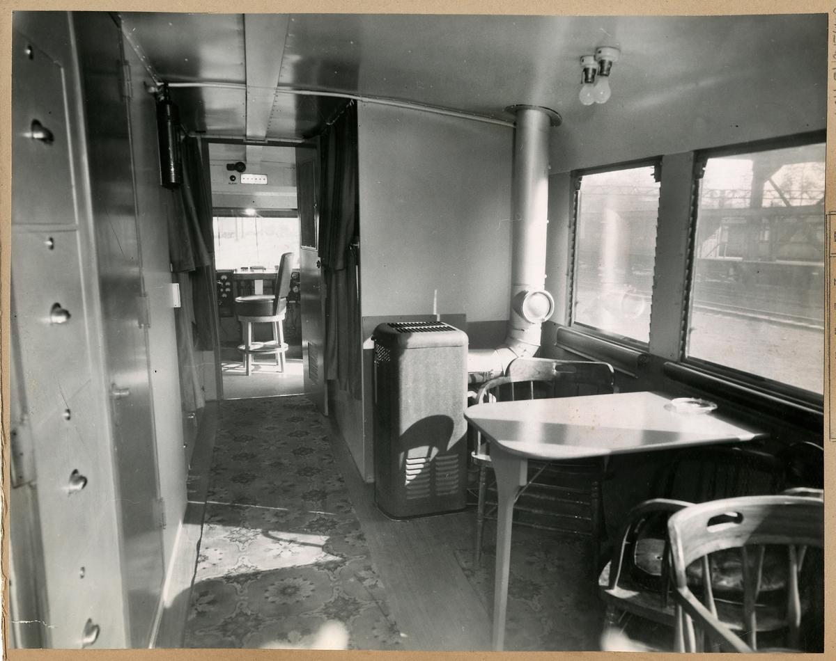 Sperry-mätvagn littera DC2 interiör. Illinois Central Railroad. USA, 1 maj 1945.
