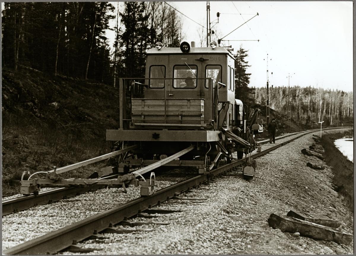 Riktning av rälsen mellan på sträckan mellan Harsjön och Bälgviken 1967.