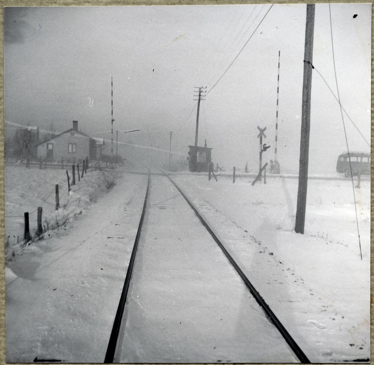 Järnvägsövergång vid Hyltarp banvaktstuga.