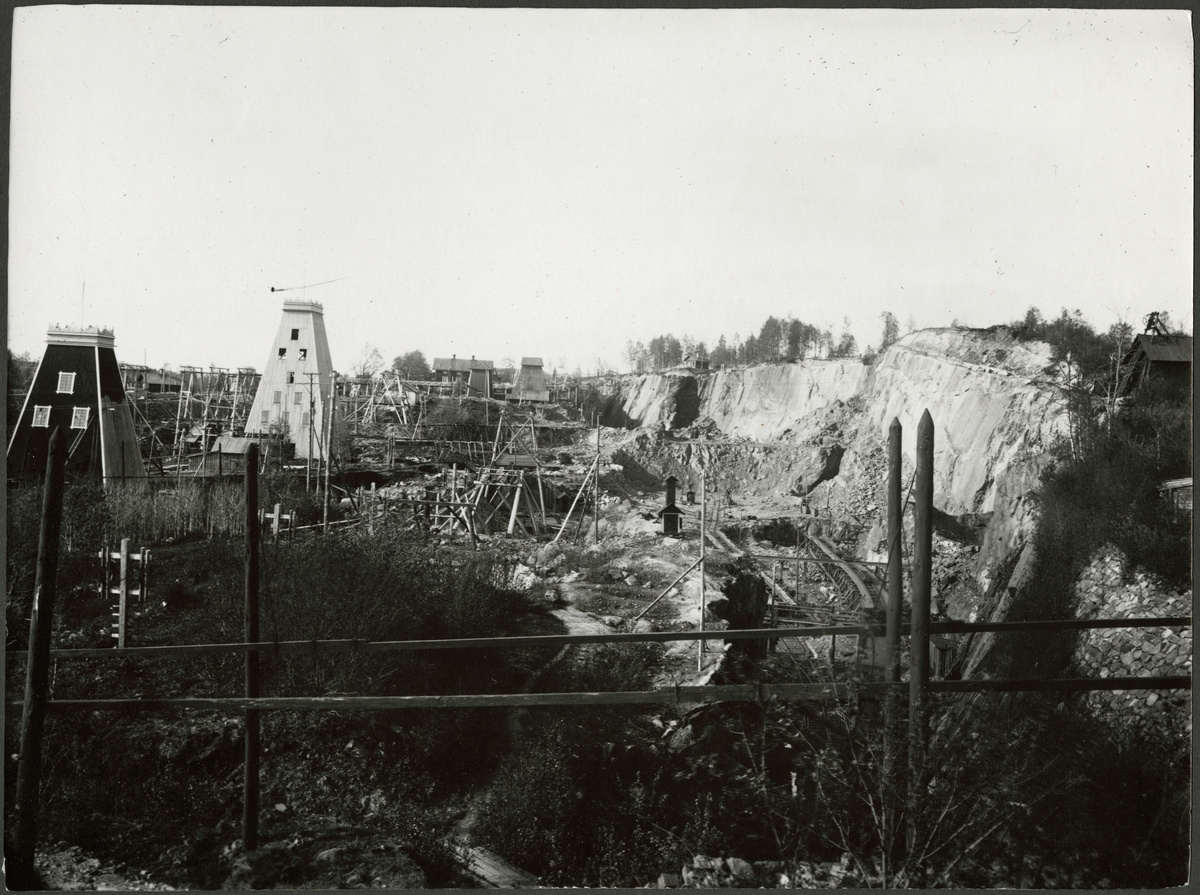 Vy över gruvområdet i Grängesberg.