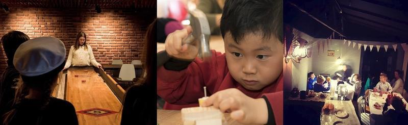 Collage med tre bilder. Barn spiller shuffleboard, en gutt med hammer slår inn spikker i en liten klossebåt og et bursagsselskap. (Foto/Photo)