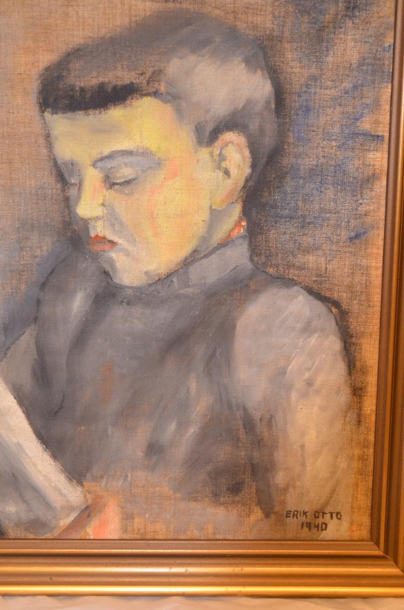 Portrett-maleri av Erik Otto Seligmann. I olje eller akryl med tre-ramme. Signert Erik Otto 1940.