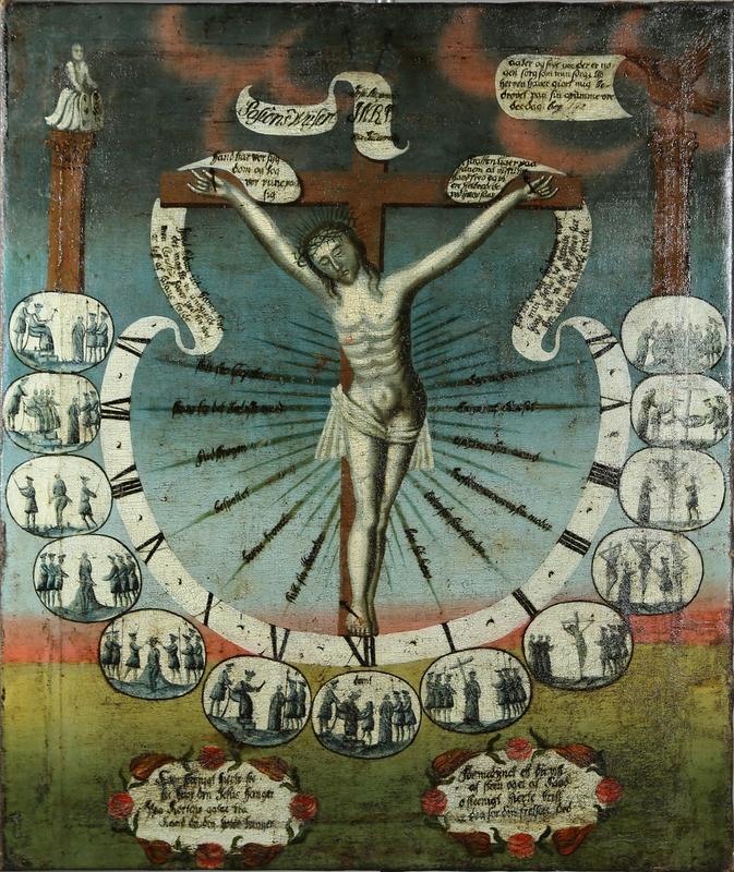 Pasjonsviser som illustrerer Jesus' lidelseshistorie. Jesus på korset er omgitt av en urskive og bilder som viser historien time for time gjennom Langfredag, fra seks om morgenen til seks om kvelden. Foto: Emir Curt