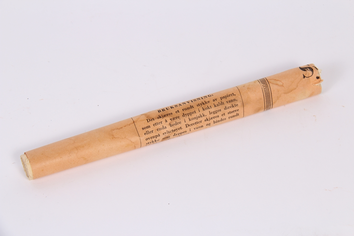 Syltepapir til bruk ved forsegling av syltetøyglas.