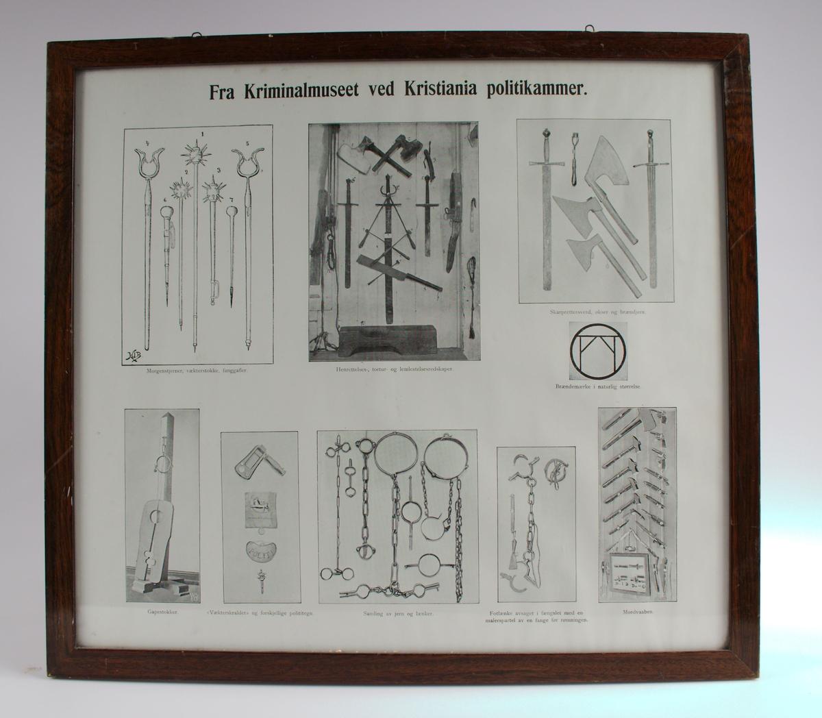 """Det ligger et likt bilde i Steinberget, NRM.00772  Fra Kriminalmuseet ved Kristiania politikammer. Fotomontasje med  9 forskjellige  bilder. 1. Morgenstjerner, vækterstokk, fangegafler. 2. henrettelse, tortur- og lemlestelsesredskaper. 3. Skarprettersverd, økser og brændejern. 4. Brendemerke i naturlig størrelse. 5. Gapestokker. 6. """"Vækterskraller"""" og forskjellige polititegn. 7. Samling av jern og lenker. 8. Fotlenke avsaget i fengslet med en malerspartel av en fange før rømningen. 9. Mordvåpen."""