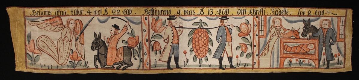 Bileams åsna, Kristi födelse och Spejarna med druvklasen.