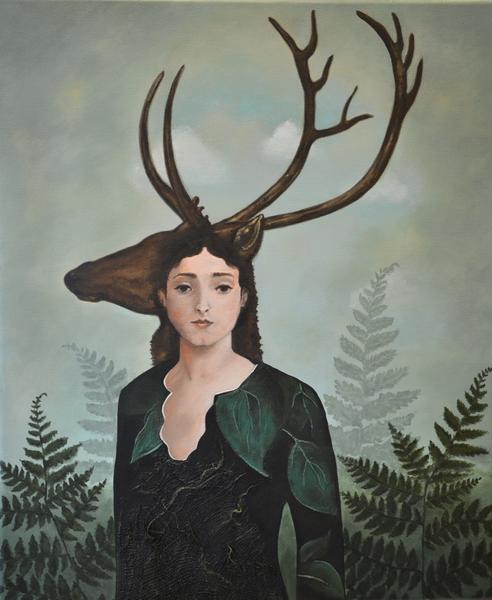 """""""Datter av Frøya"""" av Zuzanna, inspirert av Catrin Welz-Steins maleri """"Forest Warrior"""".. Foto/Photo"""