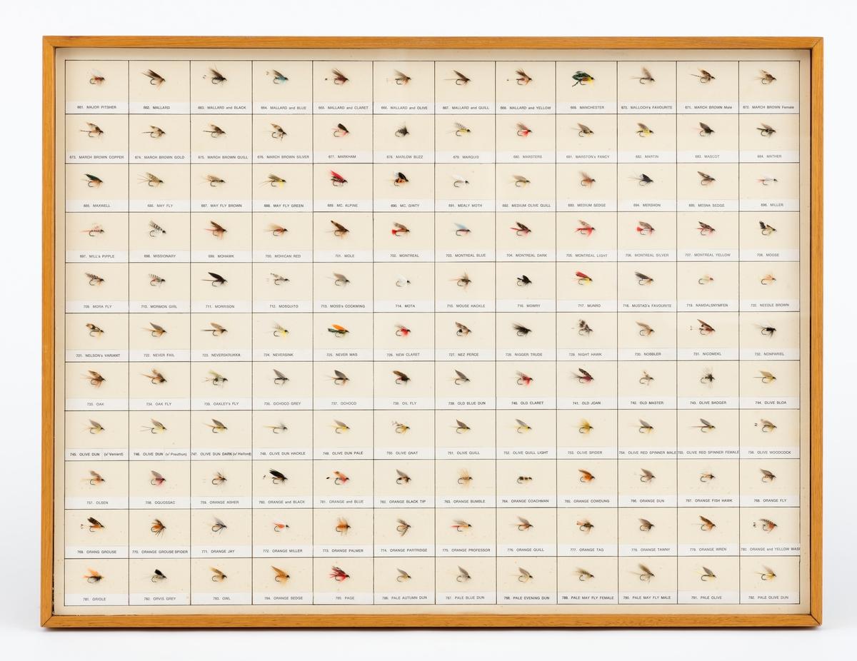 132 ørretfluer i en serie på ca. 1000 fluer bundet av Erling Sand. Fluene er delt i åtte grupper, innrammet i 8 trerammer med beskyttelsesglass, for å henge på vegg. I hver ramme er fluene montert på en papplate i 11 rader og 12 kolonner. Hver flue er merket med navn og nummer. I denne ramma er fluene nummerert fra nr. 661-792.