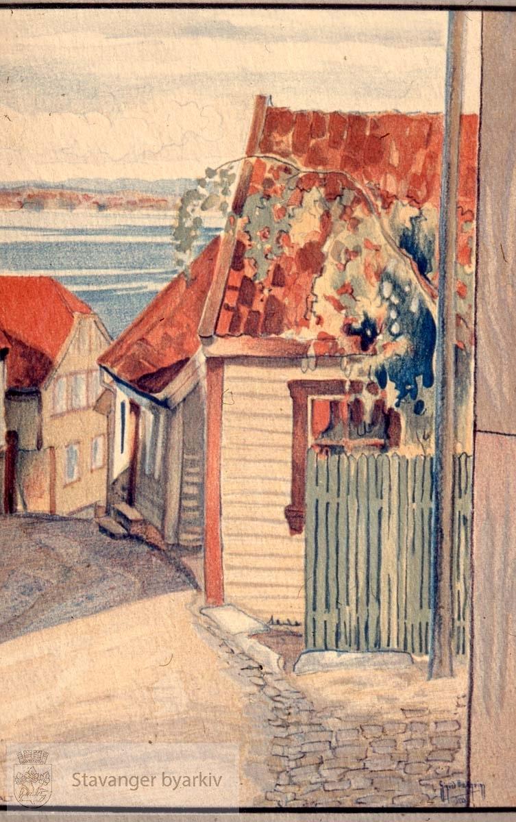Andabakken.Foto av akvarellreproduksjon.Akvarell av Sigurd Bærgeim