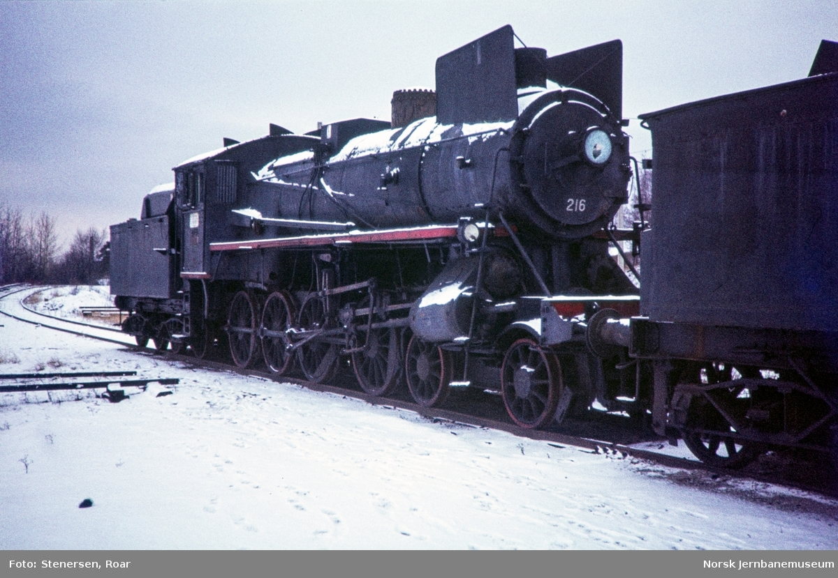 Utrangert damplokomotiv type 26a nr. 216 på Hamar.