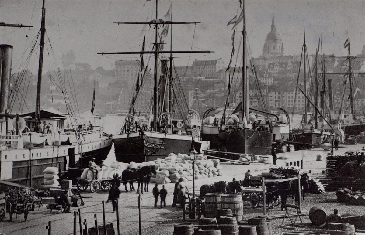 Skeppsbron, Stockholm omkring 1900 ( vy mot Södermalm) .
