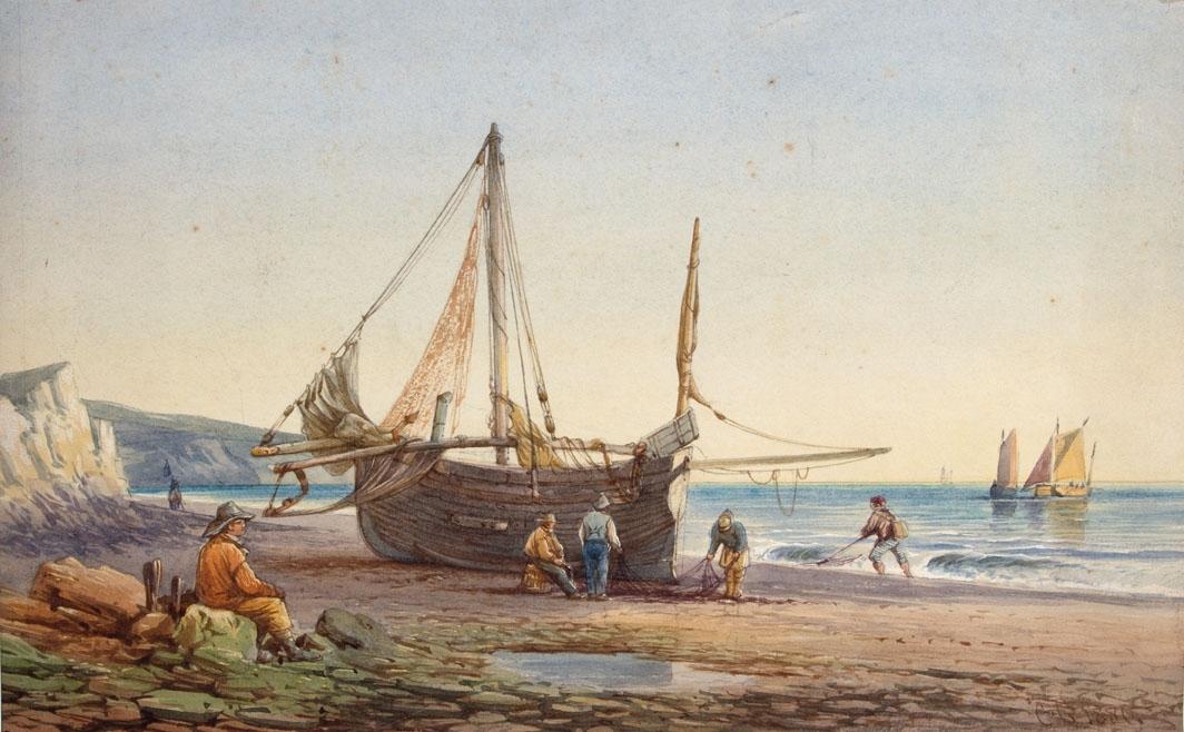 Akvarell som viser fiskefartøy på stranden med fiskere som arbeider med å ordnre garn. Flere fiskefartøy sees ute på sjøen.