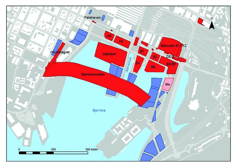 Bildet viser en oversikt over tidligere arkeologisk undersøkte områder i Bjørvika, Oslo. Disse områdene er skravert rødt. Et område er skravert rosa og er den tomta vi for tiden skal undersøke. Tomta kalles B8a.