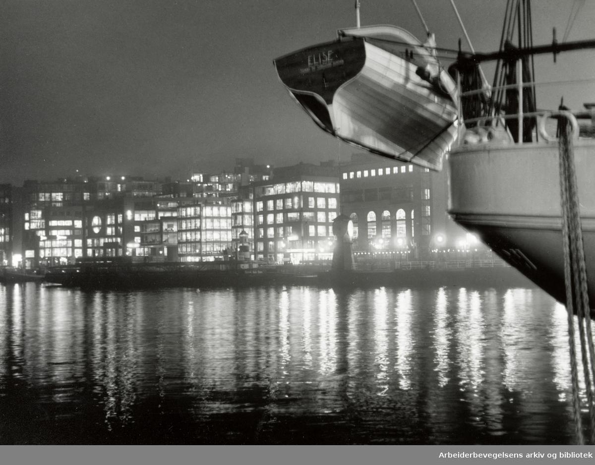 Oslo: Havna. Stemningsbilde. Januar 1992
