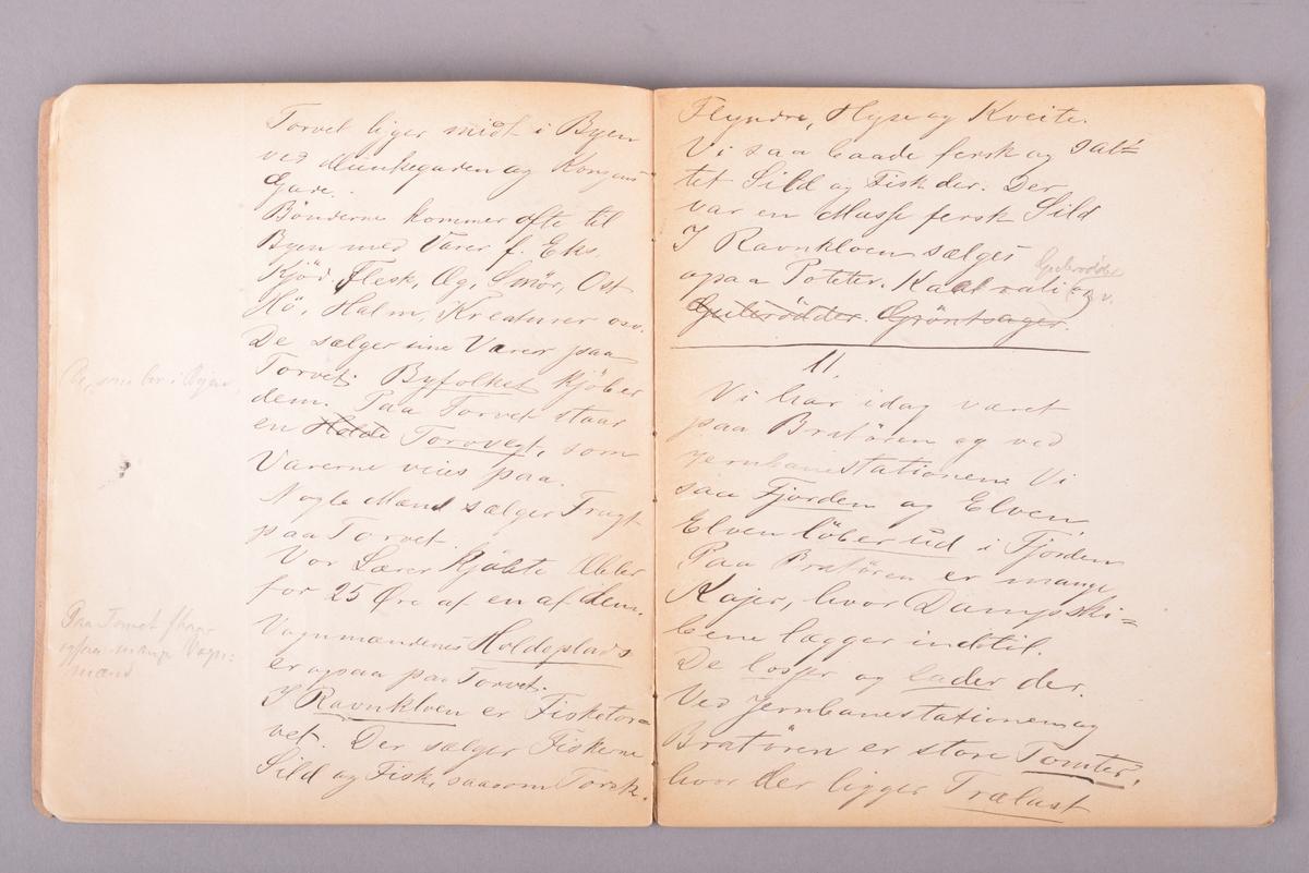 Rektangulært hefte med håndskrevet innhold. Omslag av tykt papir. Sidene er stiftet sammen i ryggen. Ulinjerte ark. Håndskrevet tekst gjort med svart blekk.
