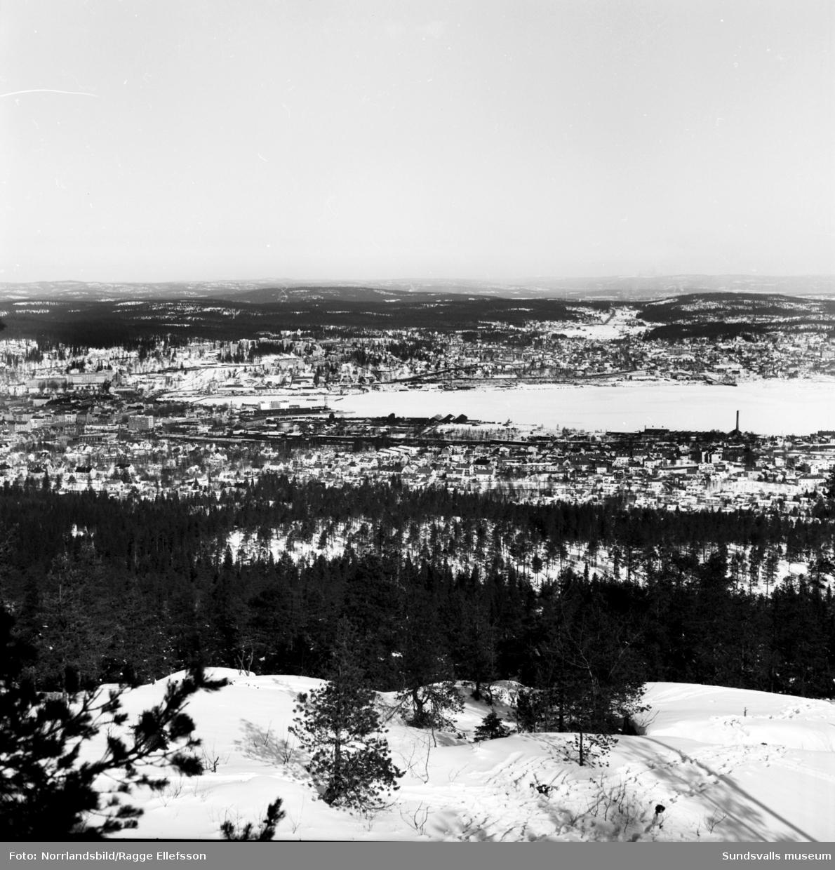 Vy norrut från Södra berget mot Skönsberg. Närmast kameran Stadsmon.