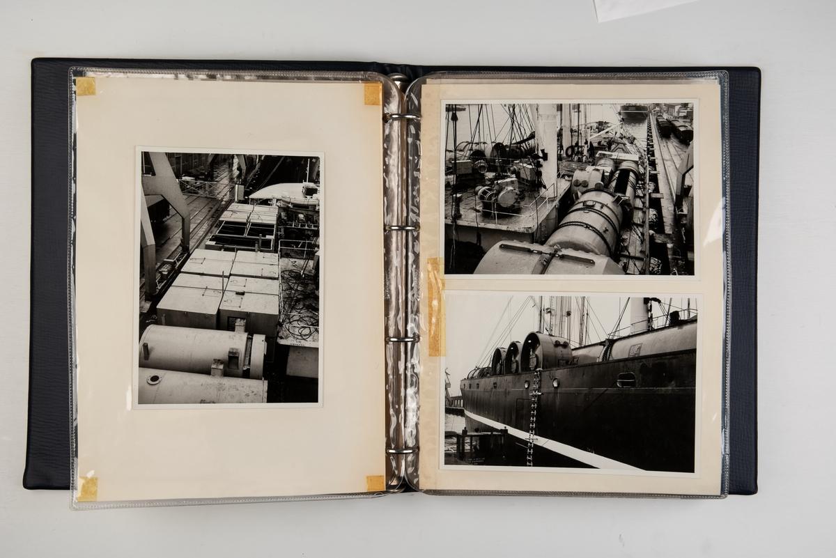 Album med fotografier av dekklast og fotografier av lasting og lossing på skip fra Wilh. Wilhelmsen.