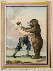 Combat d'un habitant de Finemarck contre un Ours