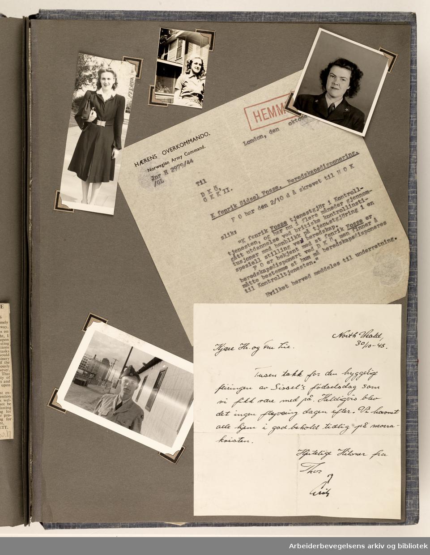 Album laget av Sissel Lie, gift Fosse og senere Bratz (1922-1983). Foto og utklipp fra tiden hun tjenestegjorde i Den norske hærs kvinnekorps i Storbritannia under andre verdenskrig. Hun oppnådde graden fenrik i kontrolltjenesten. Albumet har tittelen Sissels Scrapbook fra 1944-45. Side 107: Et portrett av Sissel Lie øverst t.h ellers ulike fotografier av ukjente personer. I midten, et hemmeligstemplet dokument fra Hærens Overkommando og nederst et takkekort fra Sissels fødselsdag med ukjent avsender. ..