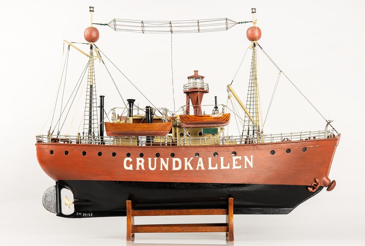Modell av fyrskeppet Grundkallen tillverkad 1928-1932 av fyrvaktaren ombord.