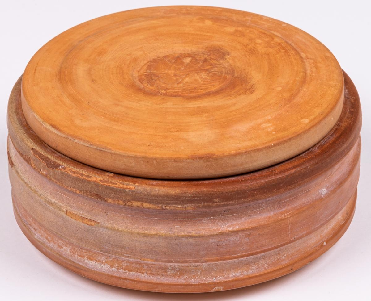 """Smörasken troligen prod mellan 1910-1940. Insatsen glaserad, i övrigt oglaserat lergods. Smörasken stämplad även med ordet KYLO, både undertill samt på locket. I museets samlingar finns en """"skål"""" med samma form som insatsen till smörskålen men utan insats."""