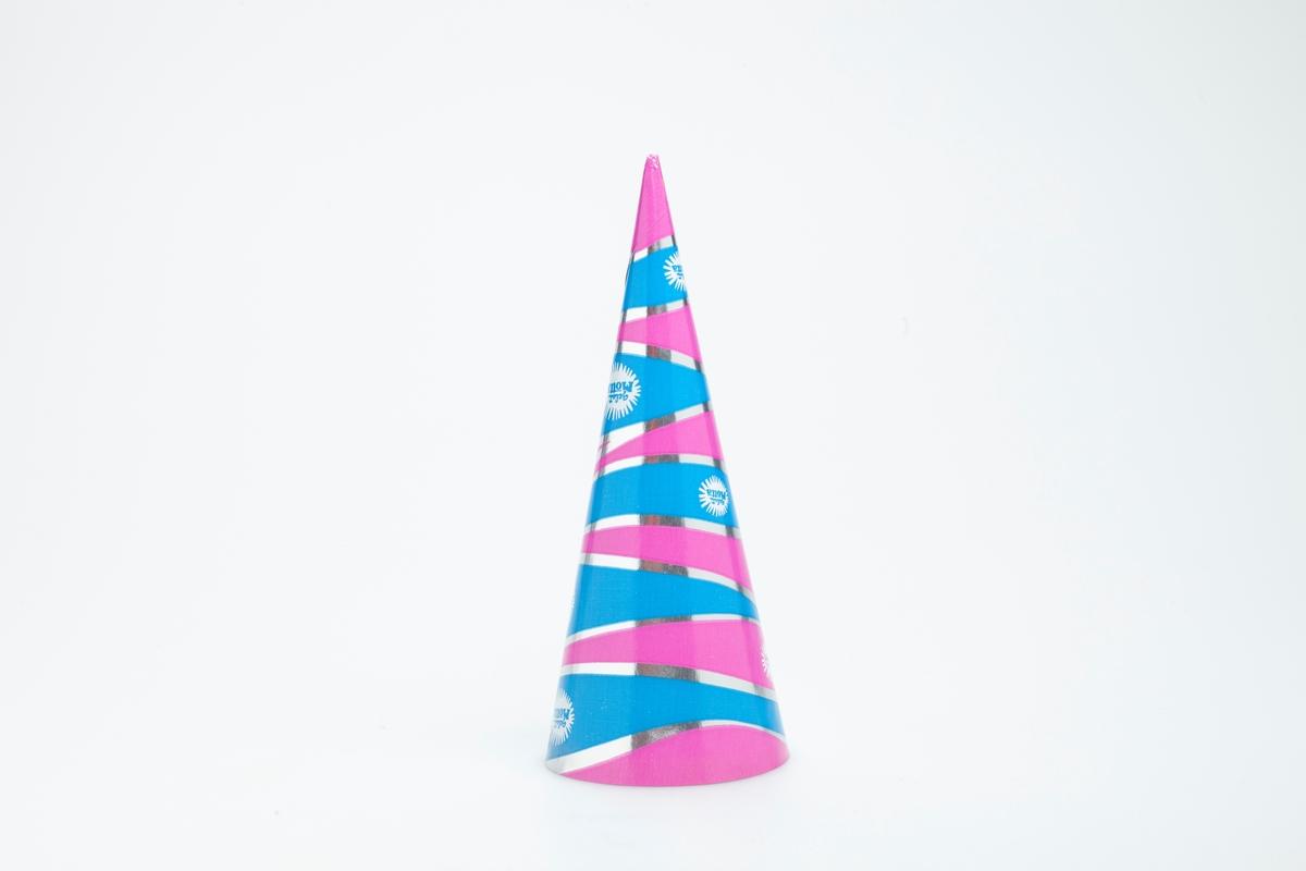 Striper i rosa, sølv og blått.