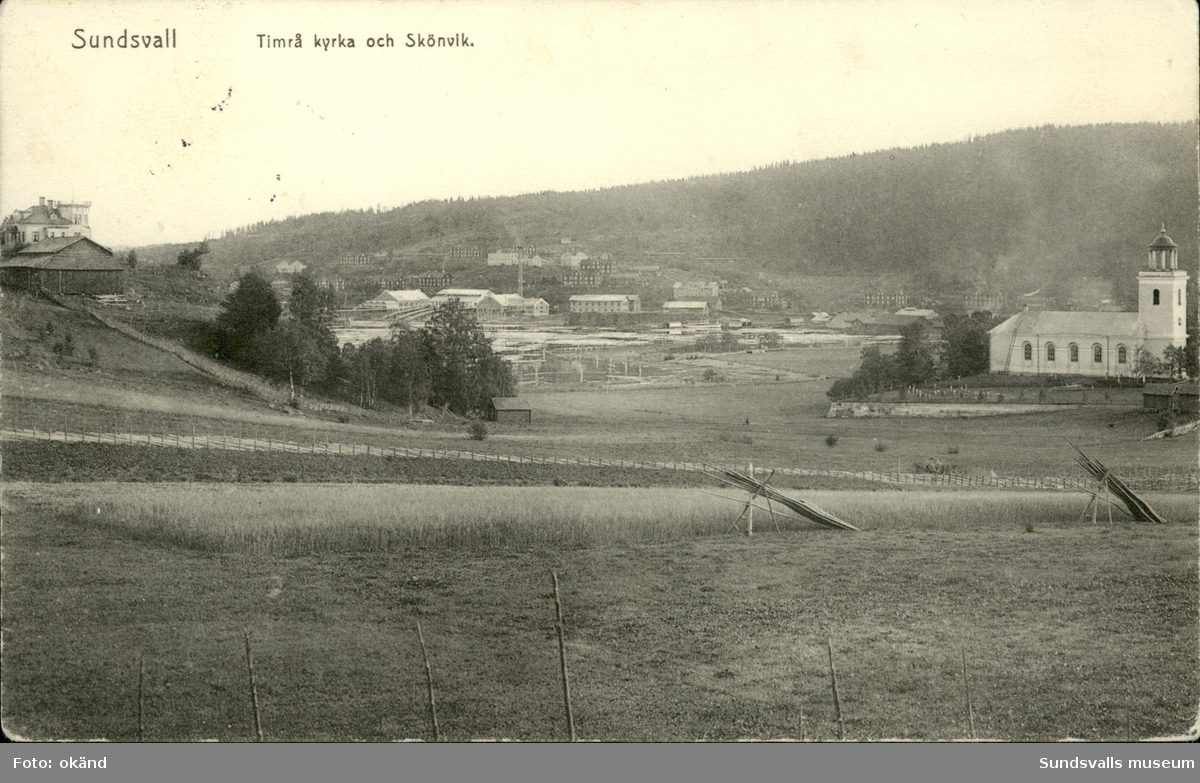 Vykort med motiv över Timrå kyrka och Skönvik.