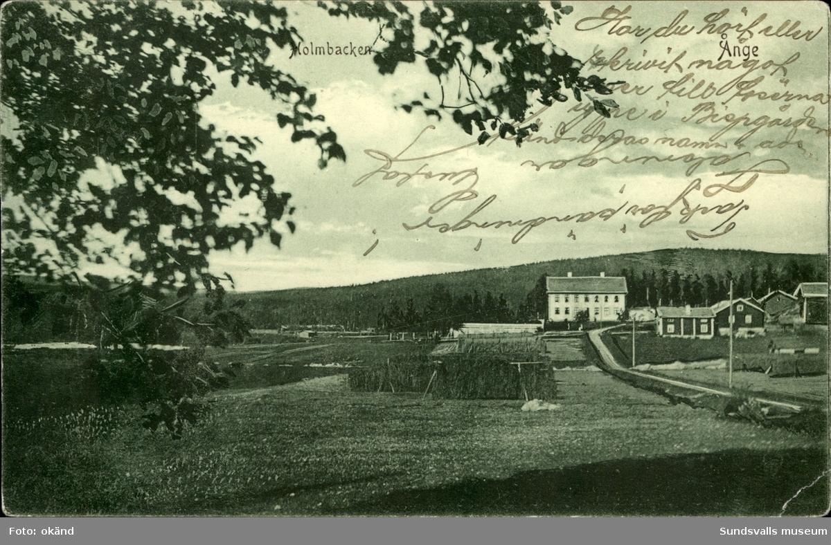 Vykort med motiv över Holmbacken i Ånge
