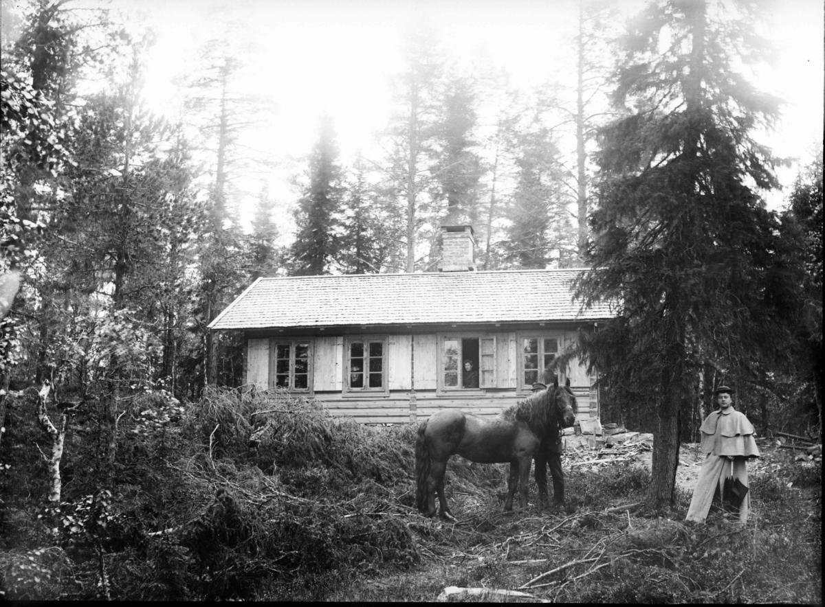 Hytte/hus i skogen. I forkant en dame og mann med hest.