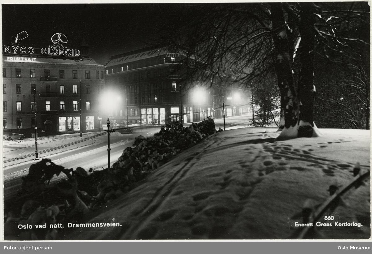 park, snø, vei, forretningsgårder, lysreklame, nattemørke, gatebelysning