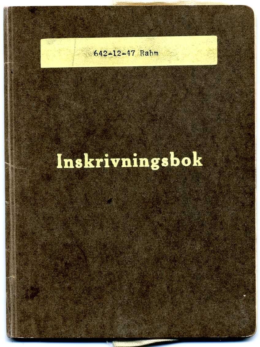 """Litet ljusbrunt häfte märkt: """"642-12-27 Rahm"""" samt """"Inskrivningsbok"""" - 1946 års upplaga. Använd under perioden 1947-1966."""
