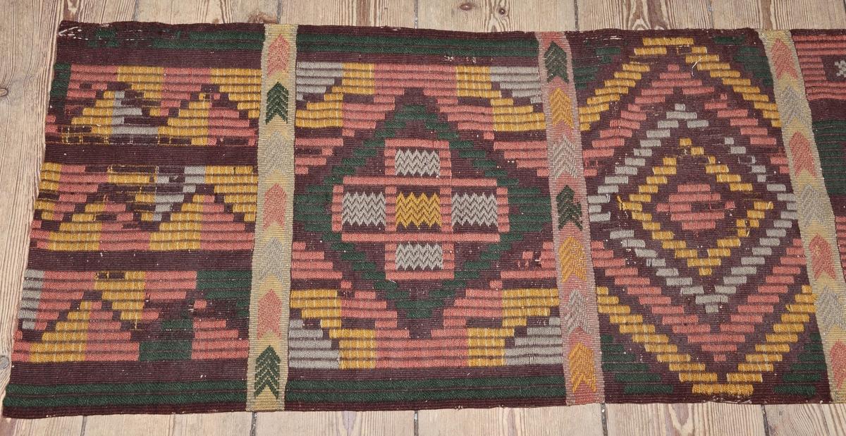 Dyna, bänkkläde, av ylle, ripsliknande väv, i rött, gult, grönt och grått. Geometriskt mönster avdelat med tvärgående ränder med V-formade detaljer. Lagning på baksidan med naturfärgat och brunt linnetyg. Troligen kopia av bänkkläde i Nordiska museets samlingar.
