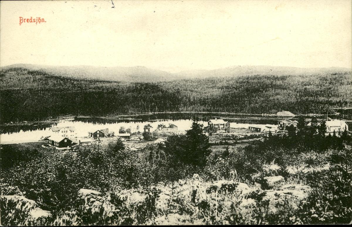 Vykort med motiv över Bredsjön i Ljustorp.