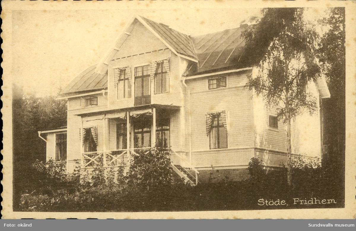 Vykort med motiv över villa Fridhem i Stöde.