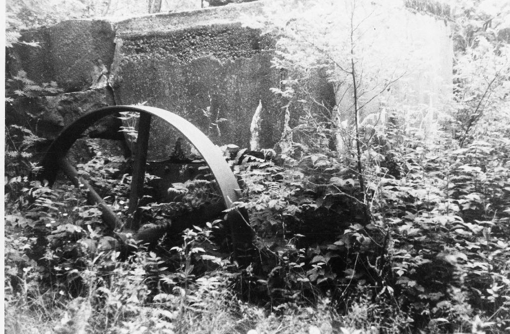 Frå nedlagt el-verk på Garpestad. Det var i bruk frå 1915 til 1955. Biletet viser eit viser eit hjul som sto på turbinen. Frå hjulet var det reim til dynamoen. Fotografert 20. juli 1883.